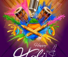 Happy holi celebration flyer template vector 05