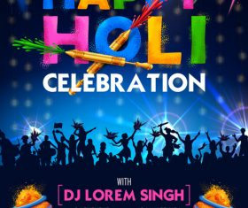 Happy holi celebration flyer template vector 06