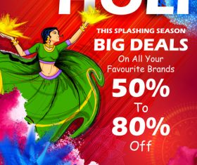 Happy holi celebration flyer template vector 08
