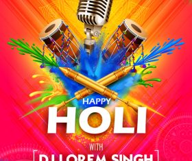 Happy holi celebration flyer template vector 09