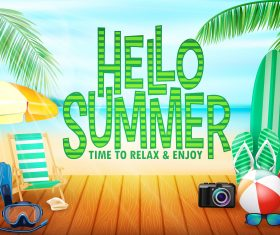 Happy summer holiday travel design vector 04