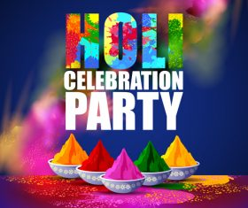 Holi festival party background design vector 01