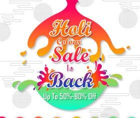 Holi festival sale discount poster template vectors 02