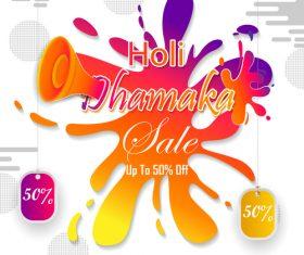 Holi festival sale discount poster template vectors 04