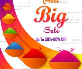 Holi festival sale discount poster template vectors 05