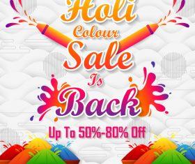 Holi festival sale discount poster template vectors 06