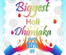 Holi festival sale discount poster template vectors 07