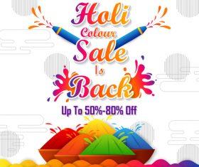 Holi festival sale discount poster template vectors 08