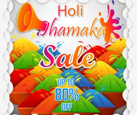 Holi festival sale discount poster template vectors 09