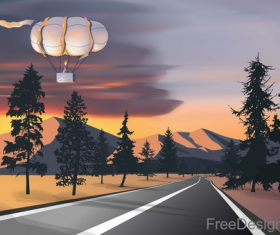 Hot balloon with sunset landscape vector