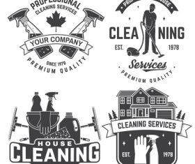 House cleaning labels with logo design vector 01