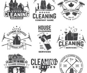 House cleaning labels with logo design vector 02