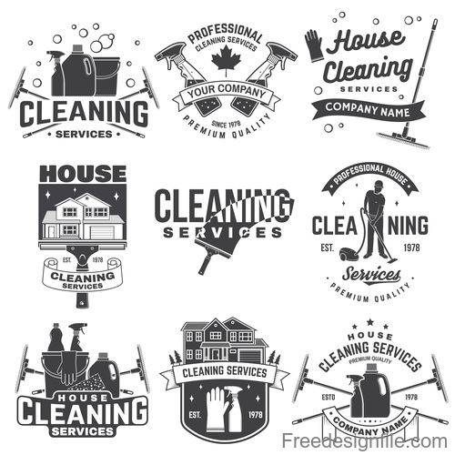 House cleaning labels with logo design vector 03