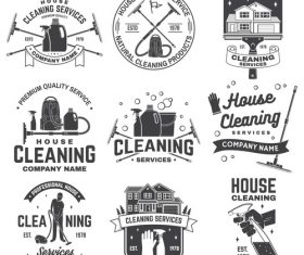 House cleaning labels with logo design vector 04