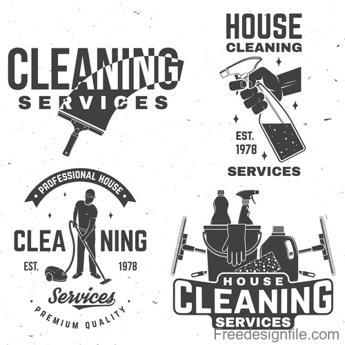 House cleaning labels with logo design vector 05