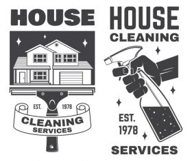 House cleaning services labels design vector