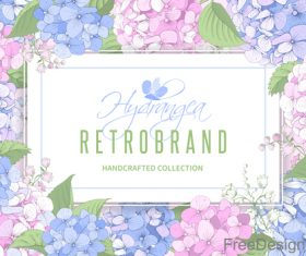 Hydrangeas frame design vector 01