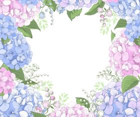 Hydrangeas frame design vector 05