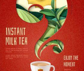 Instant milk tea flyer template vector