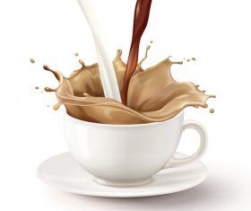 Instant milk tea flyer vector illustration