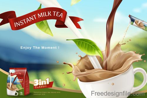 Instant milk tea poster template vector 01