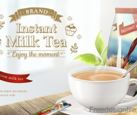 Instant milk tea poster template vector 02