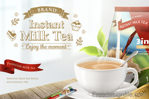 Instant milk tea poster template vector 02