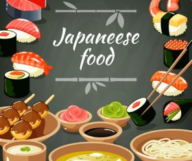 Japaneese food with snack background vector