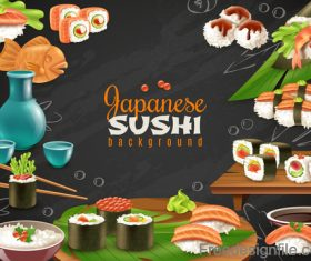 Japaneese sushi food background vector 01