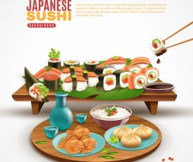 Japaneese sushi food background vector 02