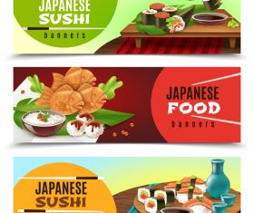 Japaneese sushi with food banners vector
