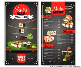 Japaneese sushi with food menu template vector