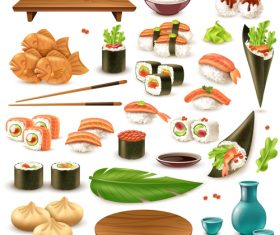 Japaneese sushi with seafood snack vector illustration