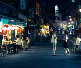 Japanese street scene at night Stock Photo