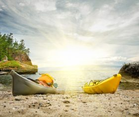Kayaking on the shore Stock Photo