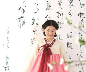 Korean woman in national costume Stock Photo
