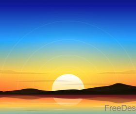 Lake At Dawn Lanscape vector