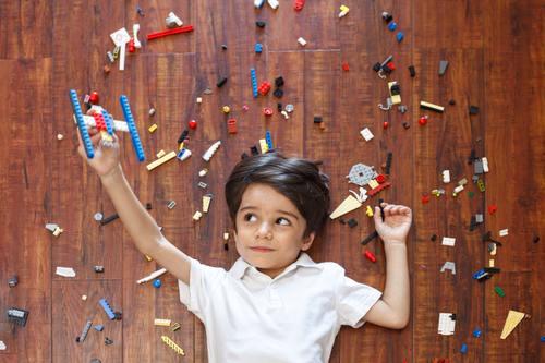 Little boy making toy plane Stock Photo 01