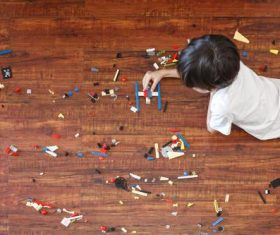Little boy making toy plane Stock Photo 02