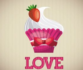Love with cupcake card vector
