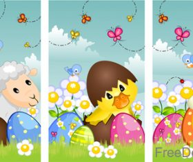 Lovely animal with banner easter vector