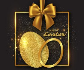 Luxury easter card with golden decor vector
