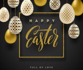 Luxury easter card with golden eggs vector