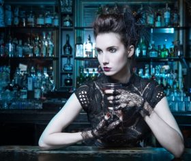 Makeup woman in the bar Stock Photo