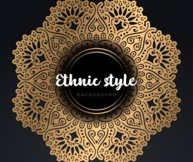 Mandala ethnic styles golden ornaments vector 01