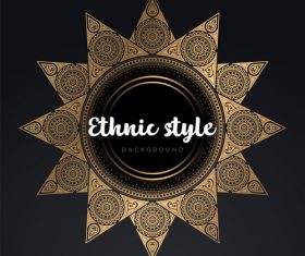 Mandala ethnic styles golden ornaments vector 02
