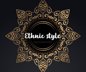 Mandala ethnic styles golden ornaments vector 05