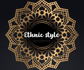 Mandala ethnic styles golden ornaments vector 06