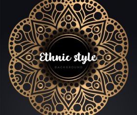 Mandala ethnic styles golden ornaments vector 07