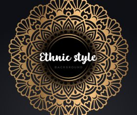 Mandala ethnic styles golden ornaments vector 09